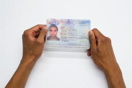 Camilo Godoy's lenticular ID card, combining two nationalities