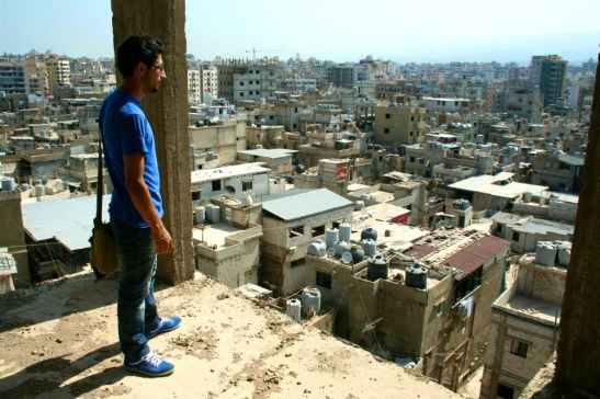 Omar Ghannoum of the Ma'an Youth Group looks out over the Burj el-Barajneh camp, south Beirut, where he lives.